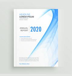 abstract blue wavy brochure design vector image
