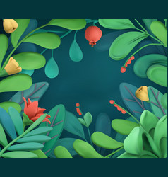 abstract plants and flowers frame 3d plasticine vector image