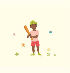 african american boy with a bat in his hands vector image