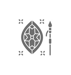 African spear and shield grey icon vector