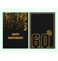 Anniversary Outline card gold vector image vector image