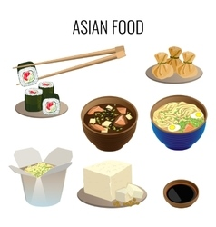 Asian food Collection of traditional national vector