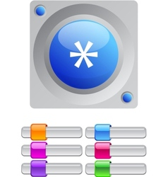 Asterisk color round button vector