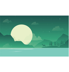 At night mountain scenery with deer silhouette vector