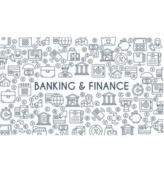 banking and finance thin line banner vector image
