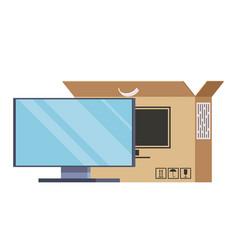 Big plasma tv stands next to the box computer vector