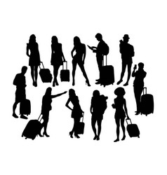 Black silhouettes travelers with suitcases vector