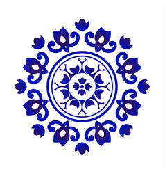 blue and white floral mandala vector image