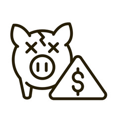 broken piggy bank crisis financial business stock vector image