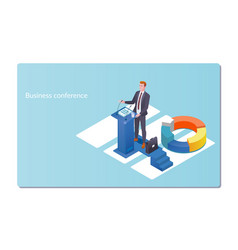 business conference invitation conceptman speaks vector image