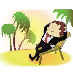 Businessman on vacation Rich person on sea beach vector image