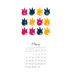 Calendar 2018 months may week starts sunday vector