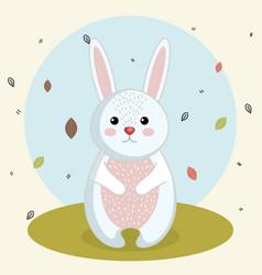 Cartoon rabbit wild animal with falling leaves vector