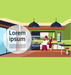Chef cook team cooking in modern kitchen at home vector