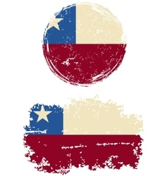 Chilean round and square grunge flags vector