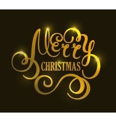Christmas handwriting gold typography vector image