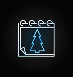 christmas tree calendar creative outline vector image