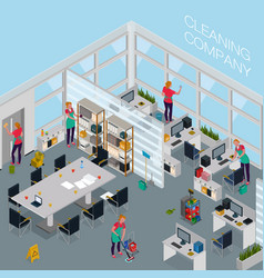cleaning service office isometric vector image
