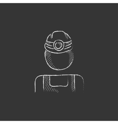 Coal miner Drawn in chalk icon vector