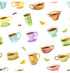 coffee or tea poured in cup seamless pattern vector image