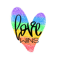 conceptual poster with lettering and rainbow heart vector image