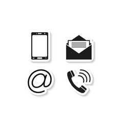 Contacts phone sticker icons vector