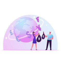 Currency exchange concept woman give sack with vector