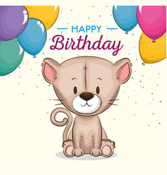 cute little cat birthday card vector image
