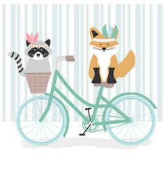 Cute raccoon and fox with feathers hats in bicycle vector