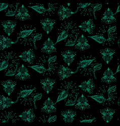 dark green and black ethnic and foliage seamless vector image