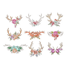 Deer horns with flowers and plants set hand drawn vector