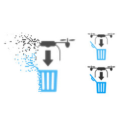 Disappearing dot halftone drone drop trash icon vector