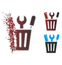 Dispersed pixel halftone tools bucket icon vector