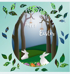 Easter eggs with white rabbits on green grass vector