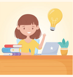 Education online student girl in desk with laptop vector