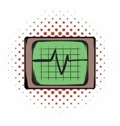 Electrocardiogram monitor comics icon vector