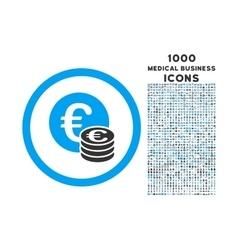 Euro Coin Stack Rounded Icon with 1000 Bonus Icons vector image