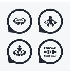 Fasten seat belt signs Child safety in accident vector image