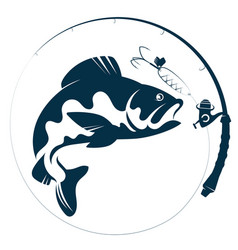 Fish silhouette bait and fishing rod vector