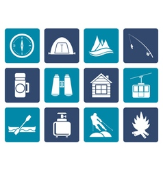Flat travel Tourism vacation and mountain object vector
