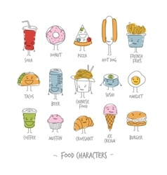 Food characters color vector