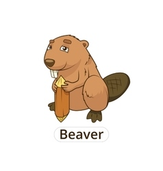 Forest animal beaver cartoon for children vector