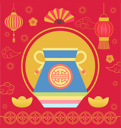 Fortune bag with oriental style cookie fan vector