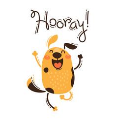 Funny dog yells hooray vector