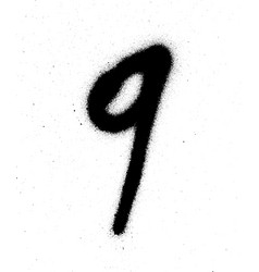 Graffiti sprayed number 9 nine in black on white vector