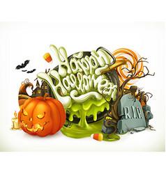 Halloween 3d emblem set of cartoon characters vector