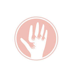 Hands up icon kids help logo template vector