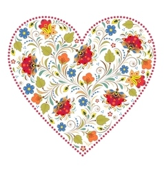 Heart with traditional russian pattern vector