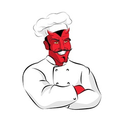 Hell cook devils kitchen satan in chef cook vector