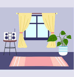 Home interior window music system potted flower vector